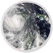 Hurricane Dean Round Beach Towel