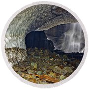 Ice Caves Round Beach Towel