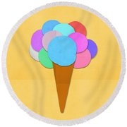 Ice Cream On Hand Made Paper Round Beach Towel
