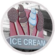 Ice Cream Sign Round Beach Towel