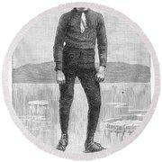 Ice Skater, 1880 Round Beach Towel