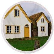 Icelandic Turf Houses Round Beach Towel