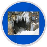 Icicle Falling Round Beach Towel