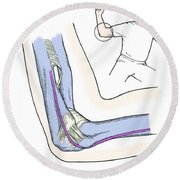 Illustration Of Elbow Ligaments Round Beach Towel