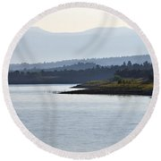 In The Mist Of Morning Round Beach Towel