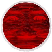 In Your Face In Negative Red Round Beach Towel
