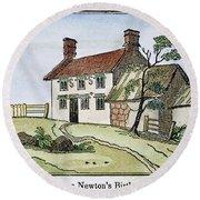 Isaac Newton Birthplace Round Beach Towel