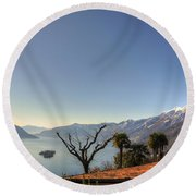 Islands On An Alpine Lake Round Beach Towel