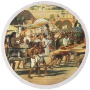Israel In Egypt Round Beach Towel by Sir Edward John Poynter