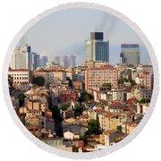 Istanbul Cityscape Round Beach Towel