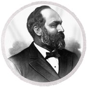 James A. Garfield, 20th American Round Beach Towel