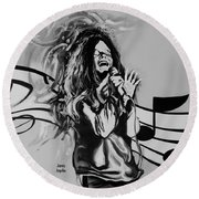 Janis In Black And White Round Beach Towel