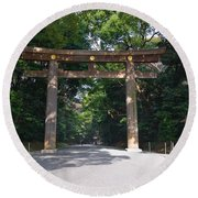 Japanese Entrance Gate On A Sunny Day Round Beach Towel