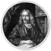 Johannes Hevelius, Polish Astronomer Round Beach Towel by Science Source