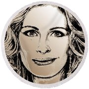 Julia Roberts In 2008 Round Beach Towel