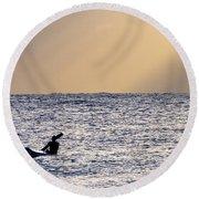 Kayak At Dawn Round Beach Towel