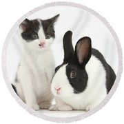 Kitten And Dutch Rabbit Round Beach Towel