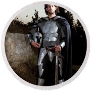 Knight In Shining Armour Round Beach Towel by Yedidya yos mizrachi
