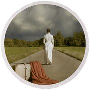 Lady On The Road Round Beach Towel