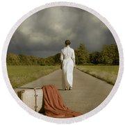 Lady On The Road Round Beach Towel by Joana Kruse