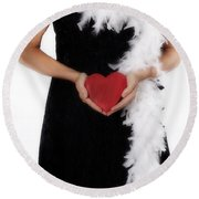 Lady With Heart Round Beach Towel