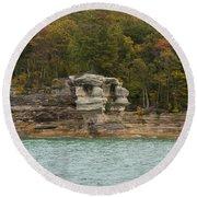 Lake Superior Pictured Rocks 49 Round Beach Towel