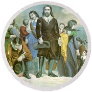 Landing Of The Pilgrims At Plymouth Round Beach Towel