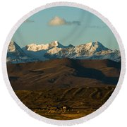 Landscape Of The Highlands And The Cordillera Real. Republic Of Bolivia. Round Beach Towel