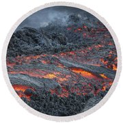 Lava Flow On The Flank Of Pacaya Round Beach Towel