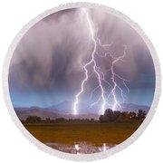 Lightning Striking Longs Peak Foothills 6 Round Beach Towel