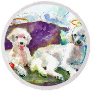 Little Angels Poodles Round Beach Towel