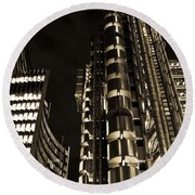 Lloyds Building London In Gold Round Beach Towel