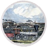 Locomotive Factory, C1855 Round Beach Towel