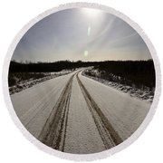 Logging Road In Winter Round Beach Towel