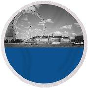London Eye And County Hall Round Beach Towel