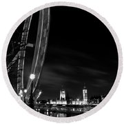 London Eye And London View Round Beach Towel