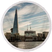 London Skyline Sunset Round Beach Towel
