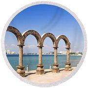 Los Arcos Amphitheater In Puerto Vallarta Round Beach Towel