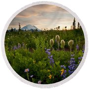 Lupine Sunset Round Beach Towel