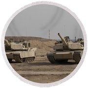 M1 Abrams Tank At Camp Warhorse Round Beach Towel
