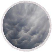 Mammatiform Clouds Round Beach Towel