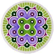 Mandala Of Abundance Round Beach Towel