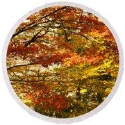 Maple Tree Foliage Round Beach Towel
