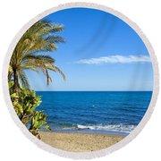 Marbella Beach In Spain Round Beach Towel