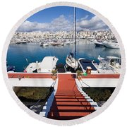 Marina In Puerto Banus Round Beach Towel