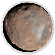 Mars Moon Phobos Round Beach Towel