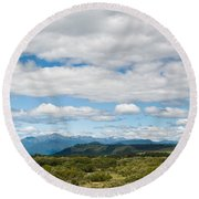 Massive Cloudy Sky Above The Wilderness Round Beach Towel