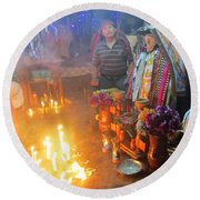Maximon Ceremony In Guatemala Round Beach Towel