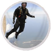 Member Of The U.s. Army Golden Knights Round Beach Towel