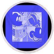 Mickey In Negative Light Blue Round Beach Towel